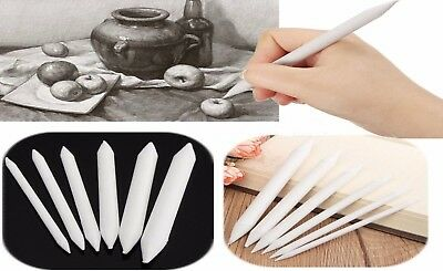 6pcs Pastel & Charcoal Blender Paper Stumps Tortillon Sketch Drawing White Pen @