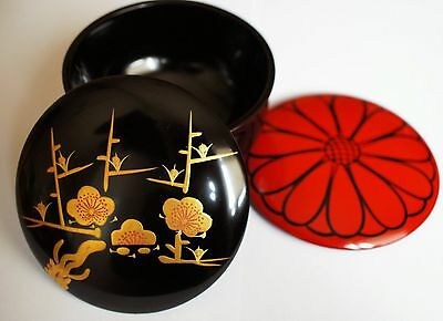 Authentic Japanese Wooden Lacquered Tea Caddy with Two lids - Natsume