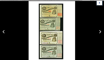PRICE IS FOR ONE NOTE LOW PRICE ON  EBAY. LOUISIANA BABY BOND $5 1800's