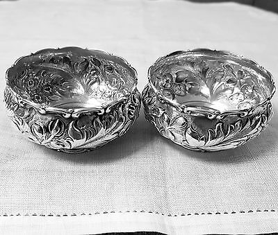 Pair Whiting repousse master open salts 3552A 1891 sterling silver NO mono