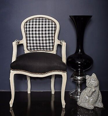 French Louis Armchair White Black Chic Bedroom Hallway Wood Tartan Gingha, Chair