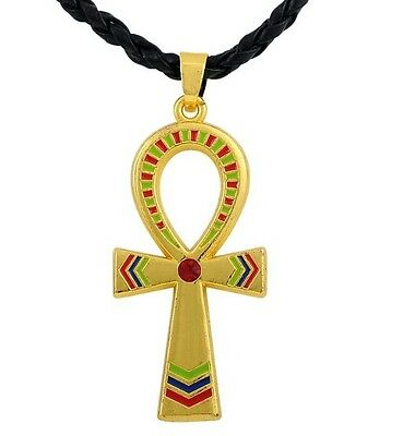 Egyptian Ankh pendant necklace - with red/green/blue accent colors