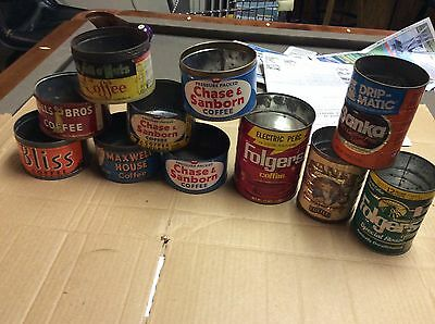 Lot of 11 Vintage metal COFFEE CANS Kitchen deco empty tins, NO LIDS