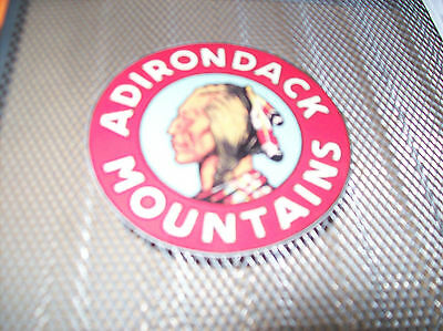 ADIRONDACK MOUNTAINS NY Tourism Round Sticker NATIVE AMERICAN INDIAN New York