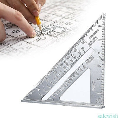 "7"" Metal Speed Square Protractor Miter Framing Measurement Ruler Carpenter Tool"