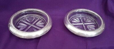 Antique Glass Coasters, with Silver Trim, 1950s