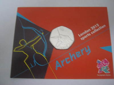 Royal mint official london 2012 olympic 50p sports archery uncirculated sealed