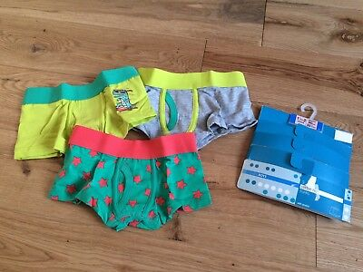Marks & Spencer Cotton Rich Trunks (3 Pairs) Age 1.5 - 2 Years - Green Mix- Bnwt