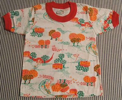 ADORABLE VTG NEW 1970s FARM SCENE COTTON PRINT RINGER T SHIRT  KIDS SMALL 3-4