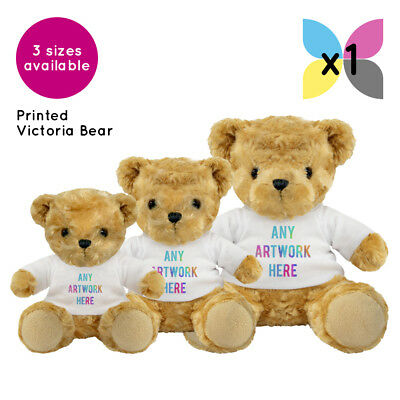 1 x PERSONALISED VICTORIA PROMOTIONAL SOFT TOY TEDDY BEAR GIFT LOGO PRINTED