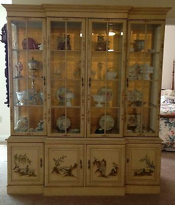 Vintage Asian Style Painted & Lighted 4 Door 2 Piece China Cabinet