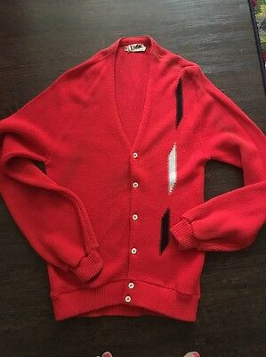 Vtg 60s 70s Red Atomic ROCKABILLY Mens Hipster Cardigan Sweater L