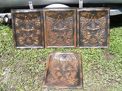 Set Of 4 Matching Late 1800 's Tin Fireplace Summer Covers Scrollwork Decorative