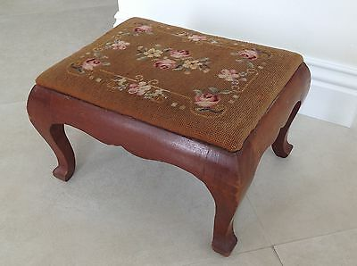 Antique wood Needlepoint Foot Stool Rest Ottoman Tapestry Embroidered Vtg