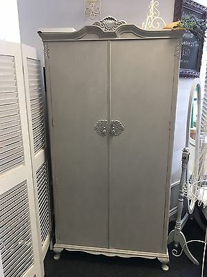 Lovely Shabby Chic Painted Wardrobe In Paris Grey With Silver Accents