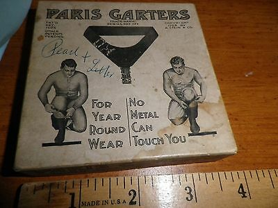 """Paris Garters for men Vintage BOX ONLY """"No Metal Can Touch You"""" #1567 1908"""