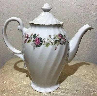 """Creative Fine China 2345 Japan Rare Teapot with Lid 1960's Regency Rose-8.5"""" H"""