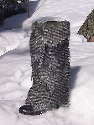 NEW Feather Faux Fur Leg Muffs boot-covers leggings warmers fake Burning Man NWT