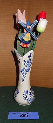 Vintage Holland Mini Pitcher Bud Vase Delft Blue and White Windmill Lot 203