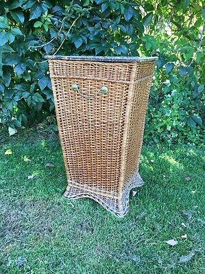 Square Vintage Wicker Cane And Umbrella Stand With Handles.
