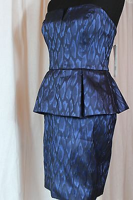 NWT Nicole Miller Strapless Party Cocktail Peplum Dress Navy/Royal MSRP $430 NEW