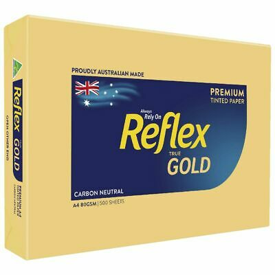 Bulk Buy - 5 x Reflex Colours 80gsm A4 Copy Paper Gold 500 Sheets