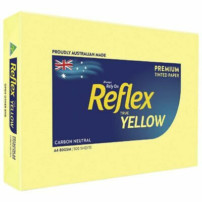 Bulk Buy - 5 x Reflex Colours 80gsm A4 Copy Paper Yellow 500 Sheets