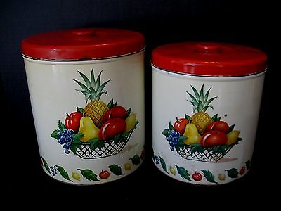 DECOWARE CANISTERS Tin Fruit Pineapple Red Knob Lid 2 Piece Set VTG Mid Century