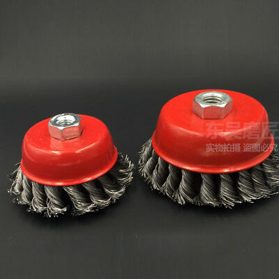 3'' 4'' Steel Wire Cup Brush Wheel Twist Knot Crimped Angle grinder Rust Removal
