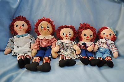 Vintage Collection of 5 Knickerbocher Raggedy Ann & Andy Dolls