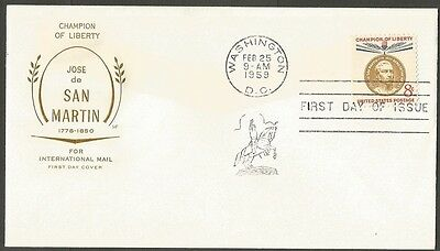 Us Fdc San Martin-1959 Champion Of Liberty 8C Stamp Hf Cachet First Day Cover