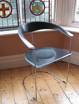 "Mid 20Thc Italian Arrben ""canasta"" Black Leather & Chrome Arm Chair, Stamped"