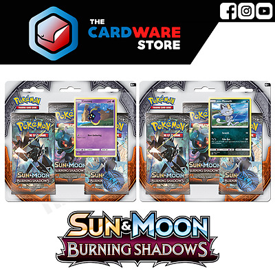 POKEMON TCG Burning Shadows 3-Pack Blister Set of 2 | Booster | Meowth & Cosmog