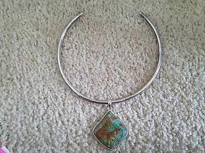 Vintage Sterling Silver Choker Necklace & BARSE Turquoise Pendant,Estate Jewelry