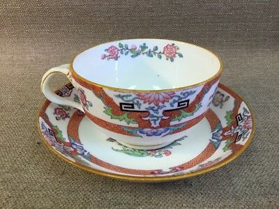 Vintage MINTON English Porcelain Chinese Red Floral Pattern Cup & Saucer