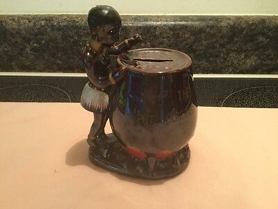Vintage Cannibal Cooking Pot Bank By Elvin Japan Hand painted