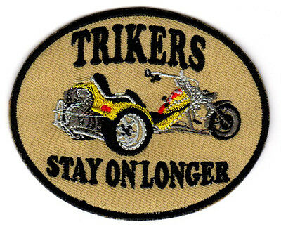 TRIKERS STAY ON LONGER EMBROIDERED IRON ON PATCH vw trike kit 3 wheel biker