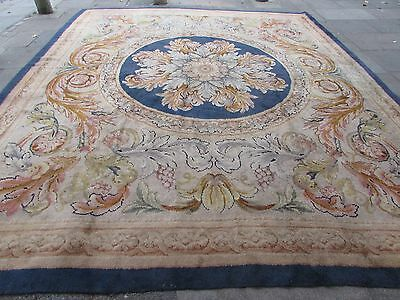 Hand Made Old European Savonnerie Design Wool Grey Blue Large Carpet 450x373cm