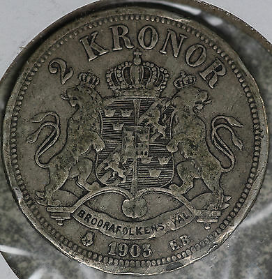 Better Date Sweden 1903 5 Kroneor Silver Coin!!