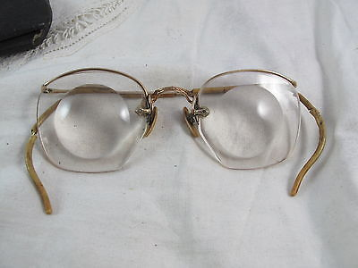 Antique Gold Filled Magnifying Eyeglasses Jewelers? Watchmakers? w/Case Tampa FL
