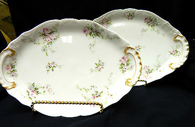 Haviland Limoges China Platters - Blue and Pink Roses- 2 Pieces