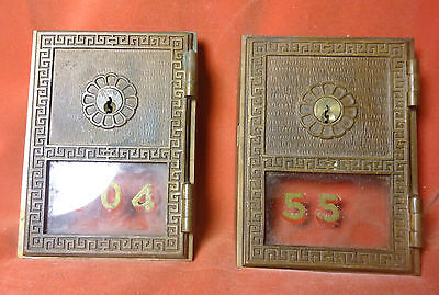 Vintage Yale Post Office Box Bronze Lock Doors, Lot Of Two-milled off key pins