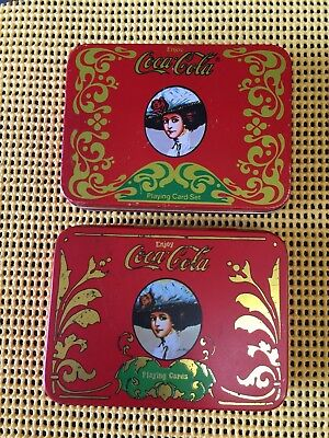 "Vintage 2 ""coca-Cola"" Tins With Playing Cards, One Has Complete, Unopened Set"
