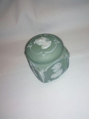 antique porcelain cameo trinket box, jar.