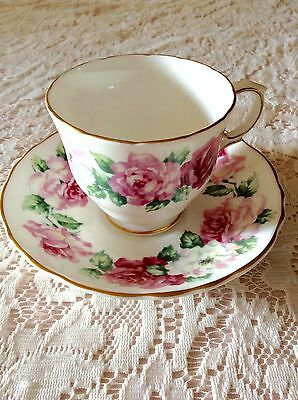 Crown Staffordshire Bone China Floral Roses Gold Trim Tea Cup and Saucer England