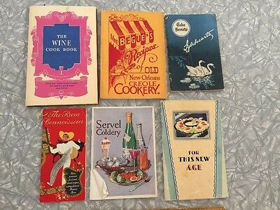 Mixed Lot of 6 Vintage Recipe Cocktail Booklets Creole, Servel, Cakes