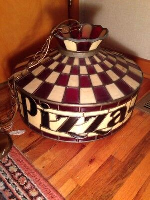 1970s pizza hut light fixture molded plastic stained glass look