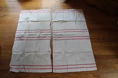 2 VINTAGE ANTIQUE GRAIN SACK HEMP LINEN STRIPE RED EUROPEAN FEED SACKS  20x37