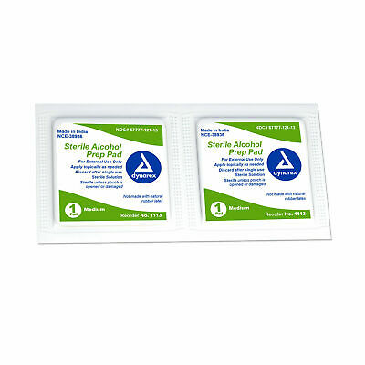 Dynarex Sterile Alcohol Prep Pads Medium 200 per box #1113