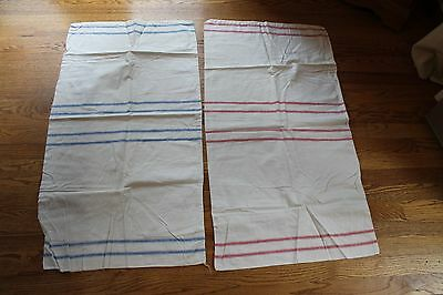 2 VINTAGE GRAIN SACKS HEMP LINEN STRIPE RED & BLUE EUROPEAN FEED SACKS  20x37